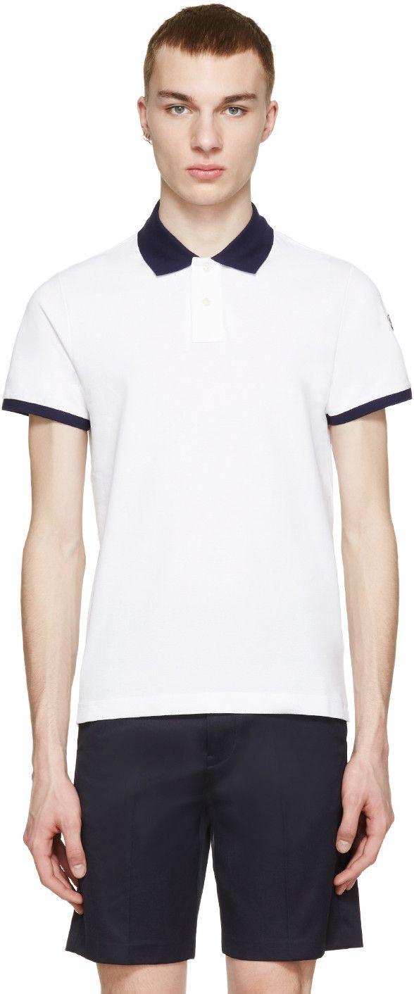 502fa926b MONCLER White Contrast Collar Polo. #moncler #cloth #polo | Moncler ...