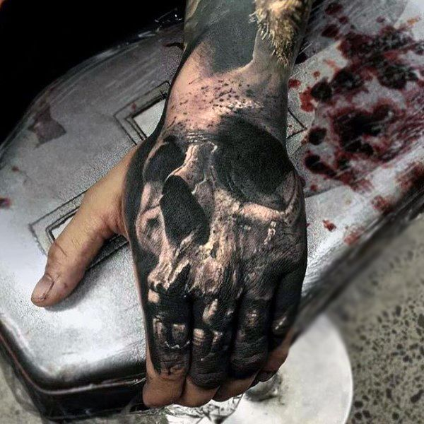 full 3d skull hand and finger tattoo for men in black ink. Black Bedroom Furniture Sets. Home Design Ideas
