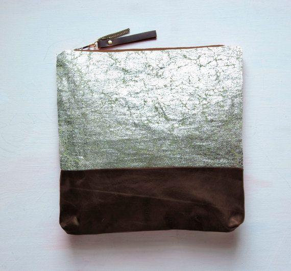 Silver Metallic Leather Clutch / etsy