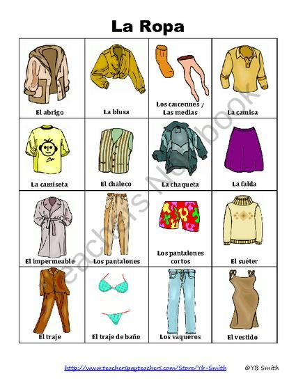 Free Spanish Clothing And Accessories Picture Notes Product From