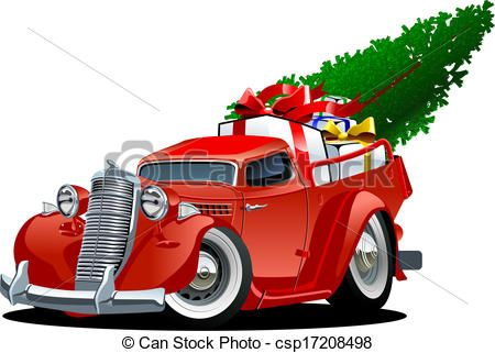 Cartoon Christmas Pickup By Mechanik Truck Isolated On White Background Available Hi Res JPG Transparent PNG And Vector Formats Sep