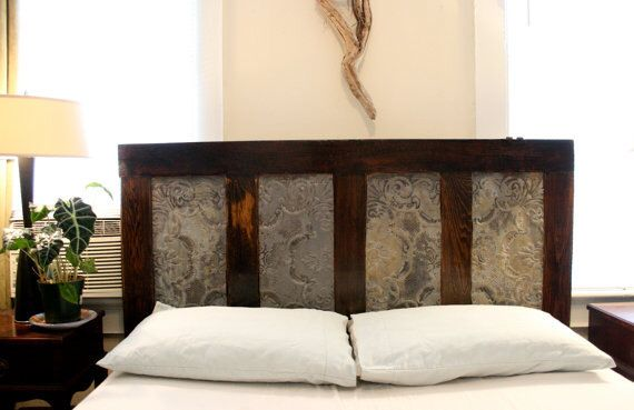 Queen Headboard Made From Old Door and Ceiling tin by DoormanDesigns on Etsy https://www.etsy.com/listing/96994855/queen-headboard-made-from-old-door-and