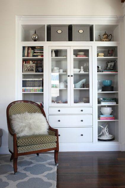 Built In Bookcase Built Around An Ikea Hemnes Mobilier Maison Deco Maison Detournement Meuble Ikea