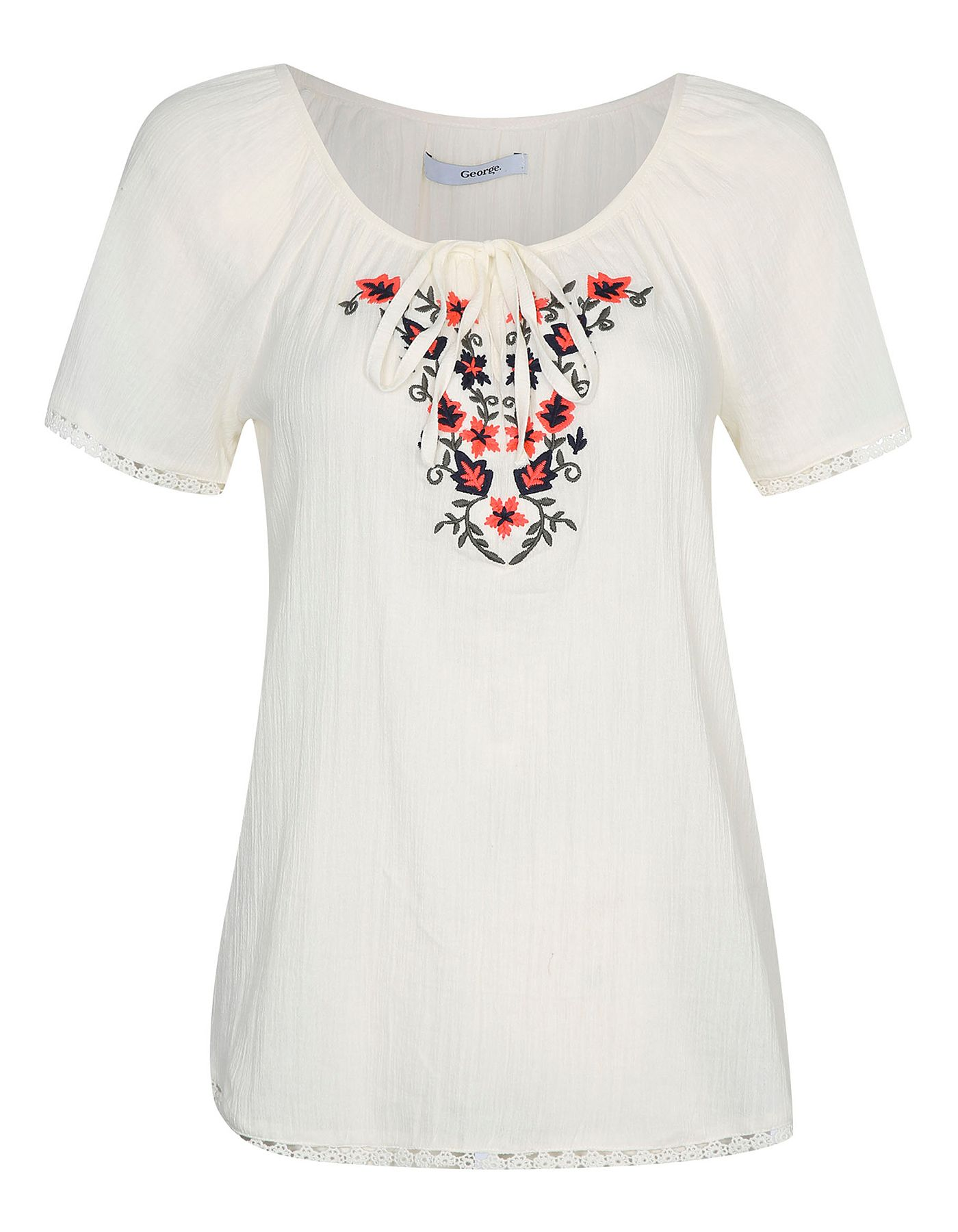 Cheesecloth Embroidered Top | Women | George at ASDA | Worth Wearing ...