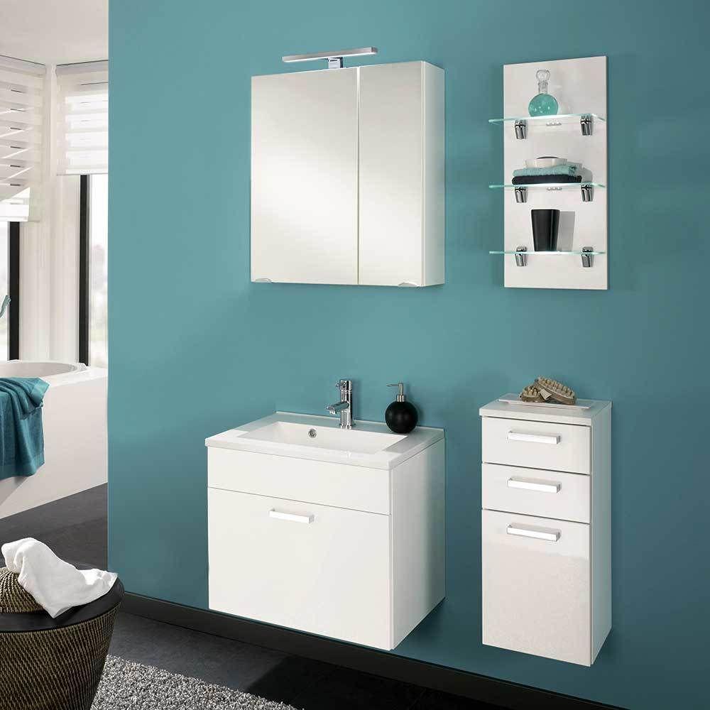 Bad Kombination Mit Waschtisch Und Spiegelschrank Weiss Hochglanz 4