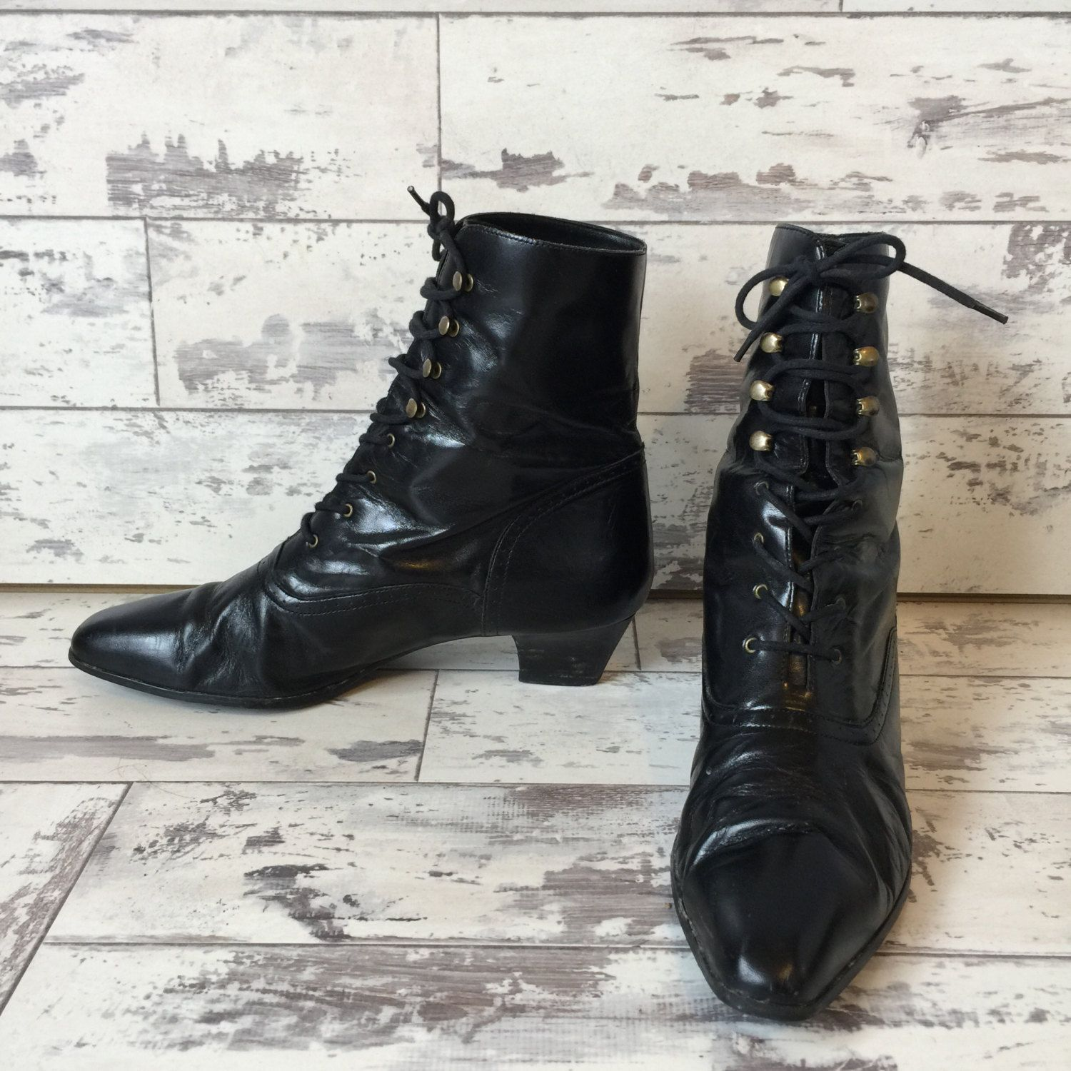 Vintage Connie Bootie 9 5 Nadia Lace Up Black Victorian Goth Witch Kitten Heel Boot Kitten Heel Boots Soft Leather Boots Boots
