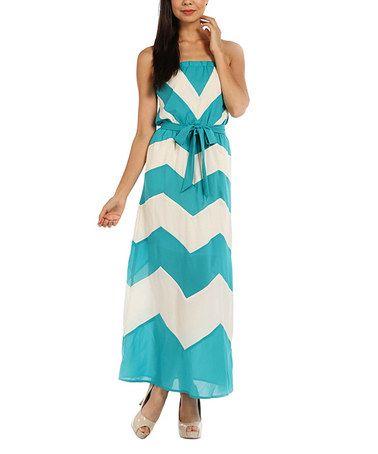 Jade Zigzag Tie-Waist Maxi Dress by Lemon Tree