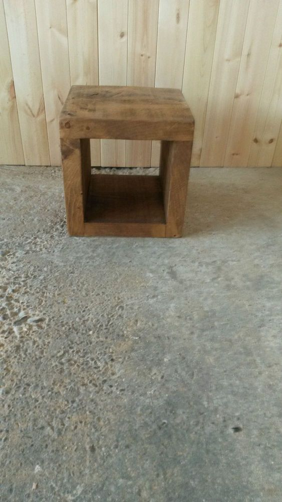New Solid Wood Rustic Chunky Small Cubes Funky Storage Wooden Cubes End  Table