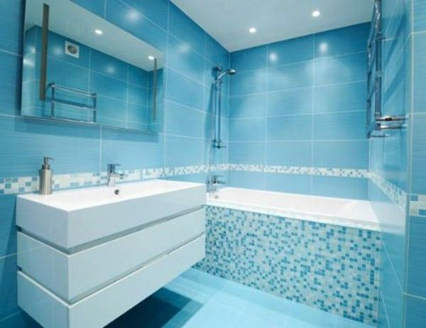 salle de bain bleu carreaux de sol lumineux - Carrelage Salle De Bain Bleu