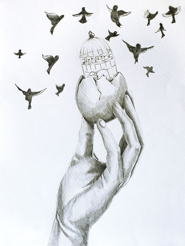 open door pencil drawing. A Grey Pencil Drawing Of Hand Gently Holding An Egg That Has Cracked Open To Reveal Bird Cage Inside With Music Notes Decorating The Cage. Door