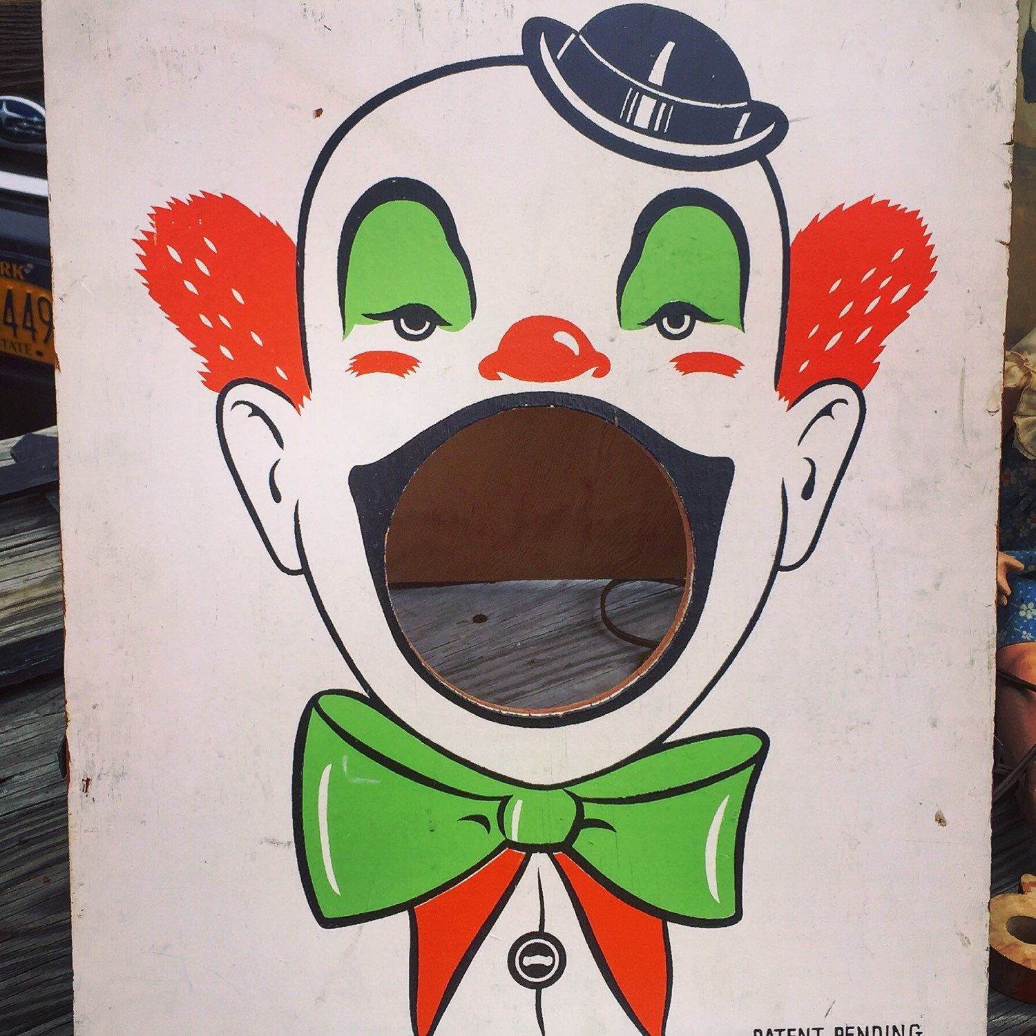 A personal favorite from my Etsy shop https://www.etsy.com/listing/269225714/beanbagtoss-clown-folk-art-wooden-clown
