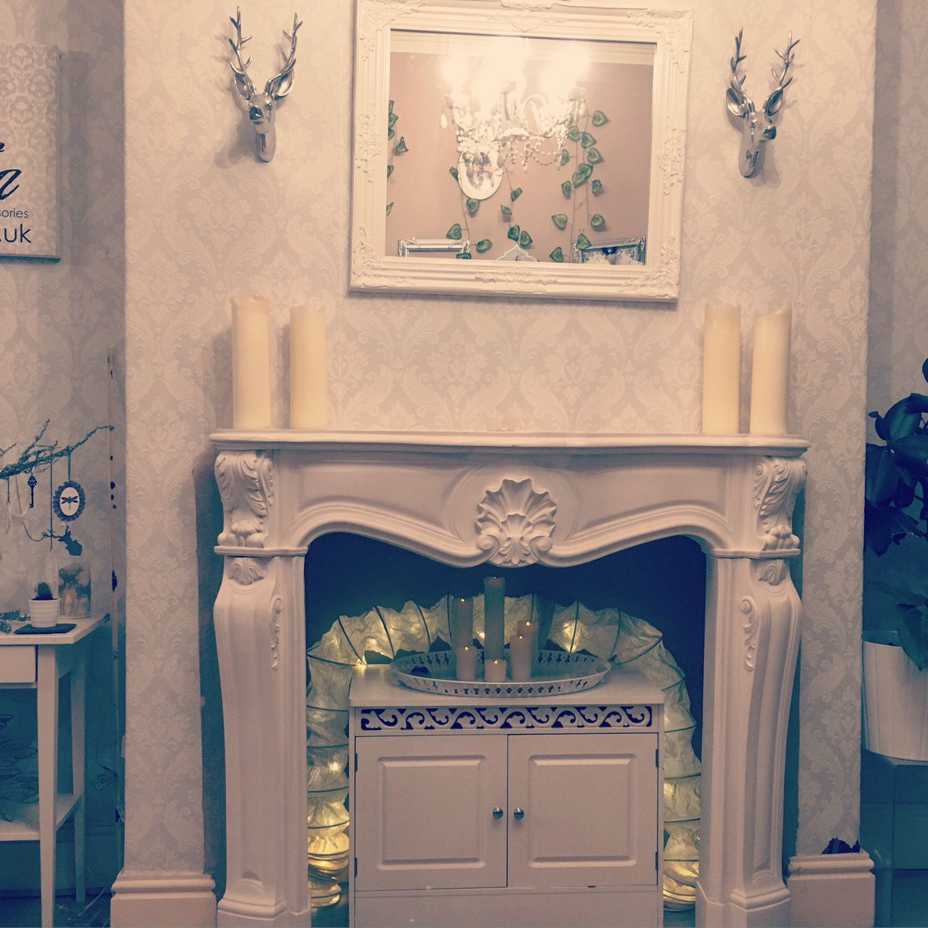 White French fire place