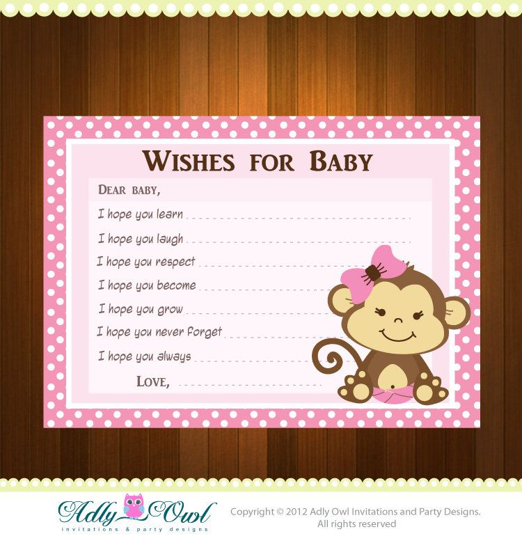 Pink+Girl+Monkeys+Baby+Shower+Wish+and+by+adlyowlinvitations,+$4.50