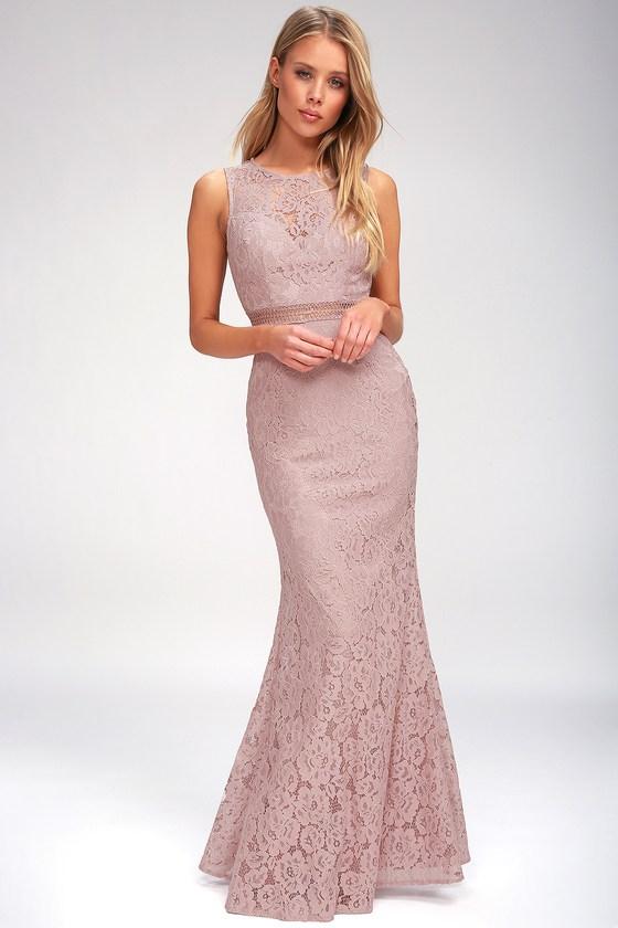 Music Of The Heart Mauve Lace Maxi Dress Wedding Guest Dress Mauve Lace Dress Guest Dresses