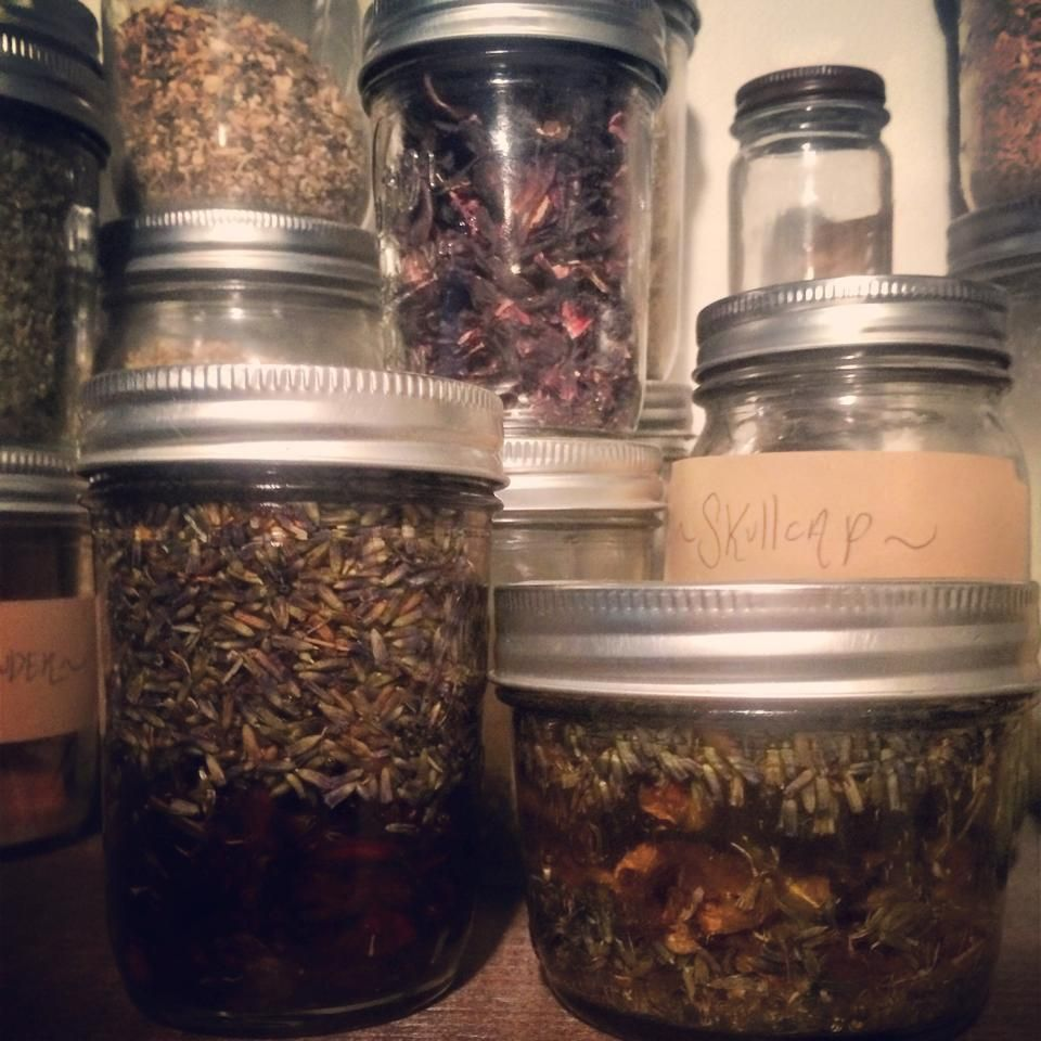 Hibiscus & Lavender Infused Oil On The Left. It Has A