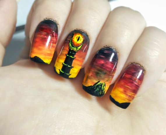 Eye Of Sauron Lord The Rings Freehand Nail Art By Starrynail