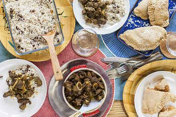 How To Make Curry Goat, Rice And Peas, And Gizzadas