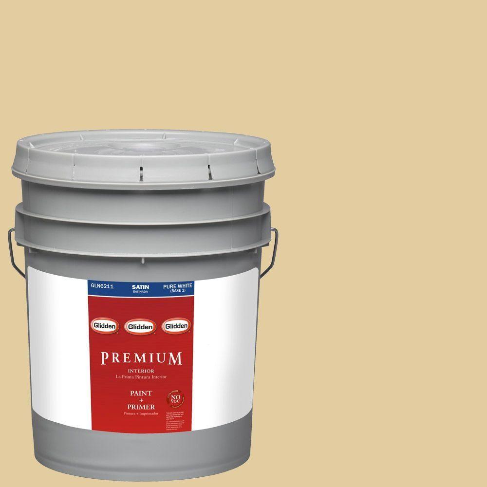 Glidden Premium 5-gal. #HDGY62D Golden Heirloom Satin Latex Interior Paint with Primer
