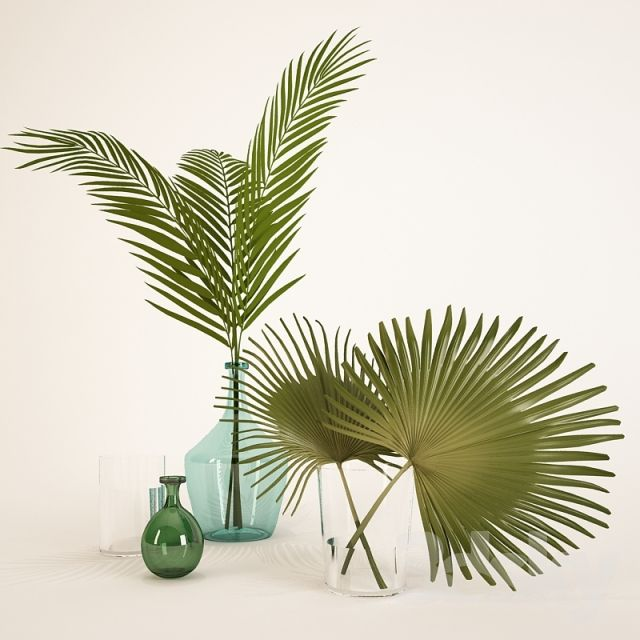 e- vase with palm leaves (shorter of the two) to replace flowers