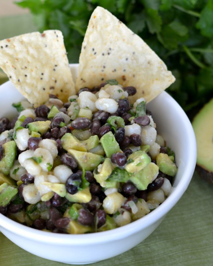 This Black Bean and Hominy Dip is a great, healthy snack that's packed with flavor!