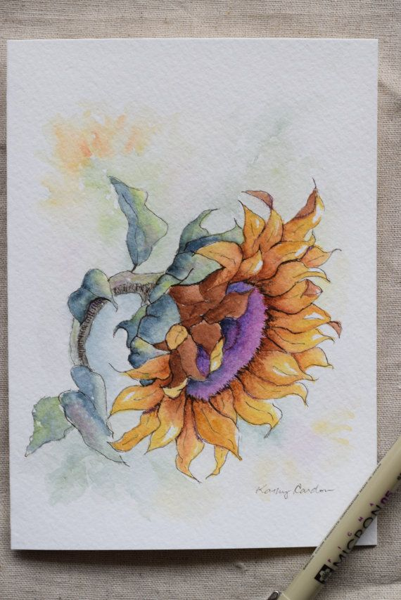 sunflower you are my sunshine watercolor painting card. Black Bedroom Furniture Sets. Home Design Ideas