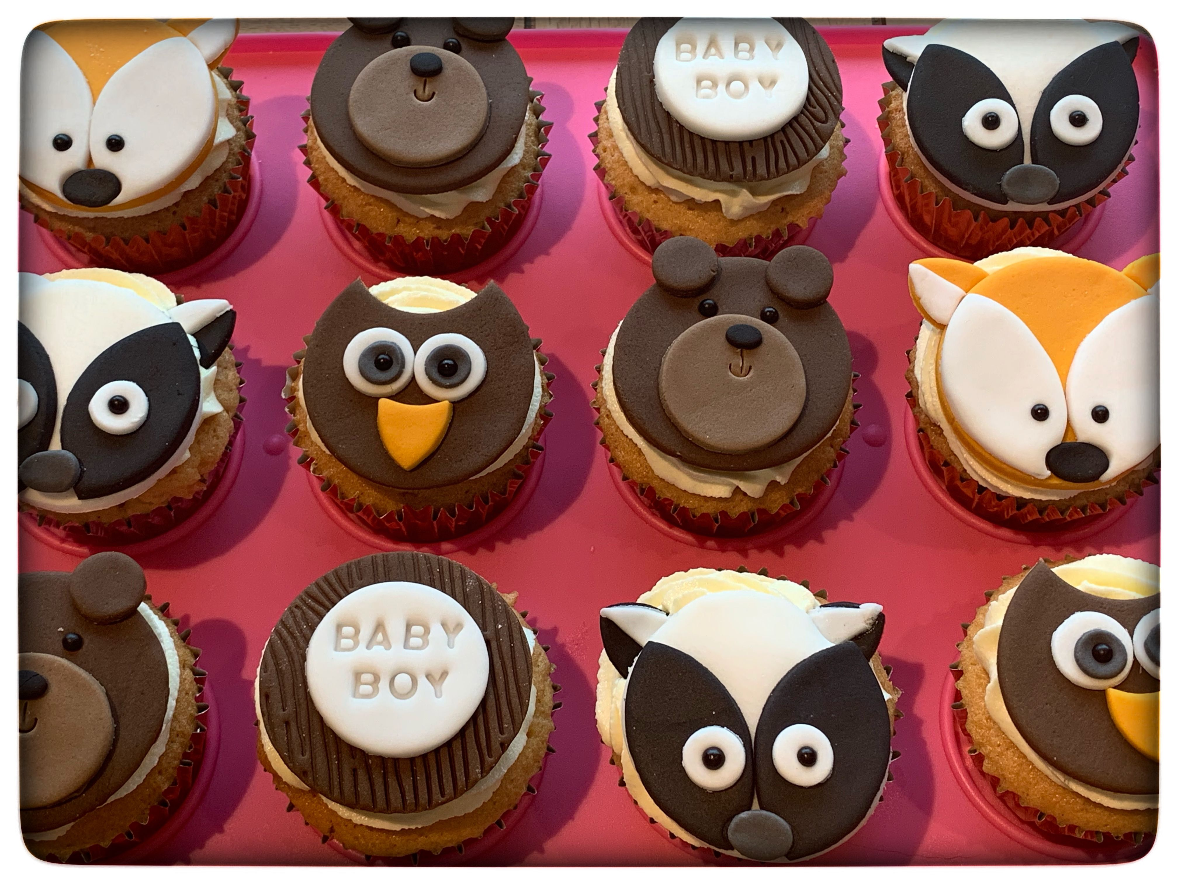 Woodland theme cupcakes, baby shower cupcakes | Baby ...