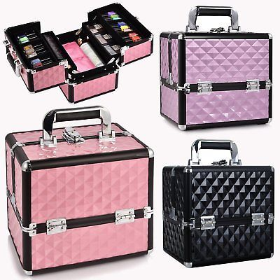 Large Aluminium Vanity Case Cosmetic Make Up Nail Tech Jewellery Storage Box New Makeup Vanity Box Makeup Box Makeup Vanity Storage