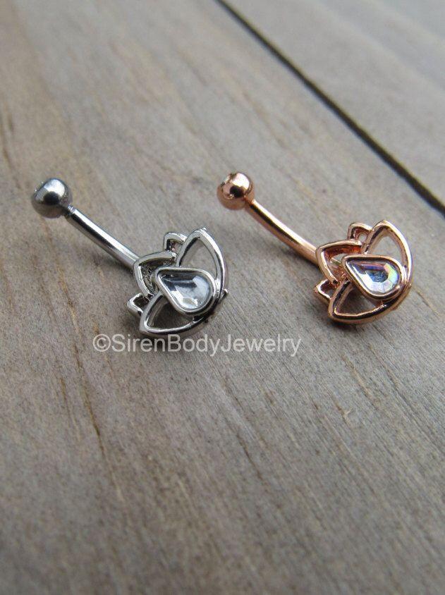 Rook piercing barbell 16g rose gold lotus flower daith ring gemstone