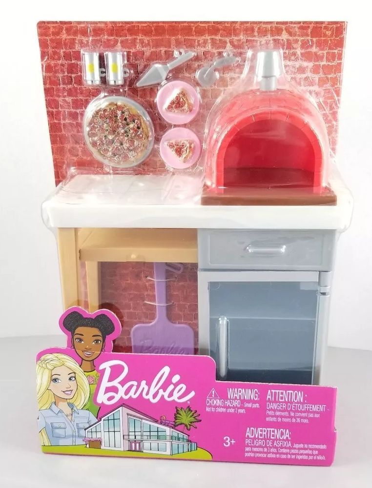 New Barbie Doll Outdoor Furniture Set Play Set Brick Pizza Oven