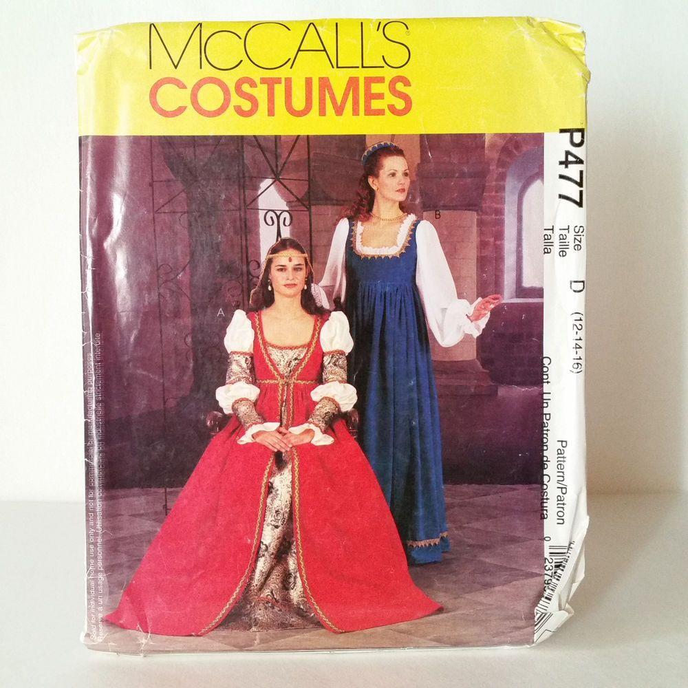 Renaissance Faire Wedding Dress Gown Costume History Mccalls: McCalls Medieval Renaissance Gown Dress Costume Pattern