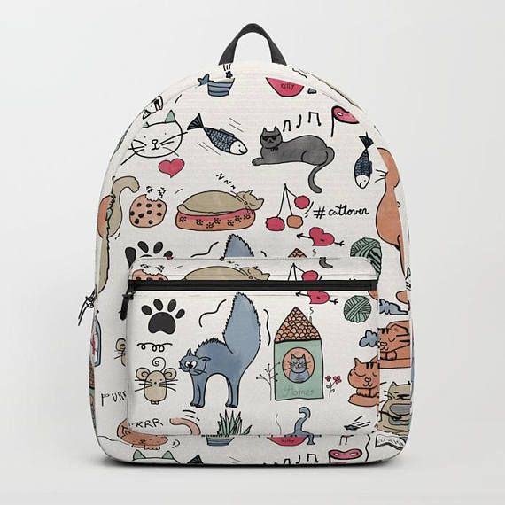backpack cat lovers personalized laptop rucksack kids woman