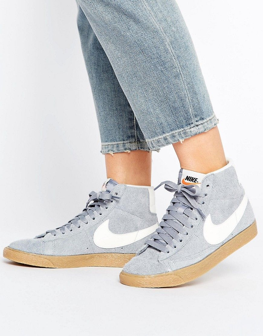 nike blazer mid trainers in grey suede
