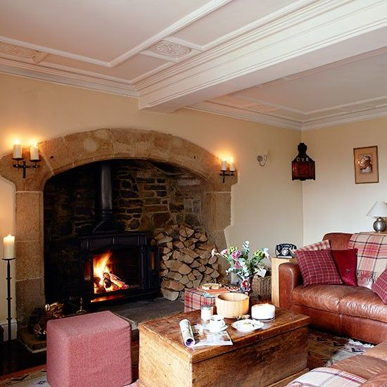 White Living Room With Panelled Ceiling RedFireplace RoomsCountry