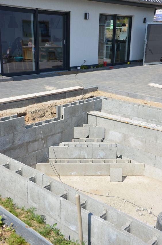 treppe in den pool bauen pinterest treppe schwimmteich und garten pool. Black Bedroom Furniture Sets. Home Design Ideas