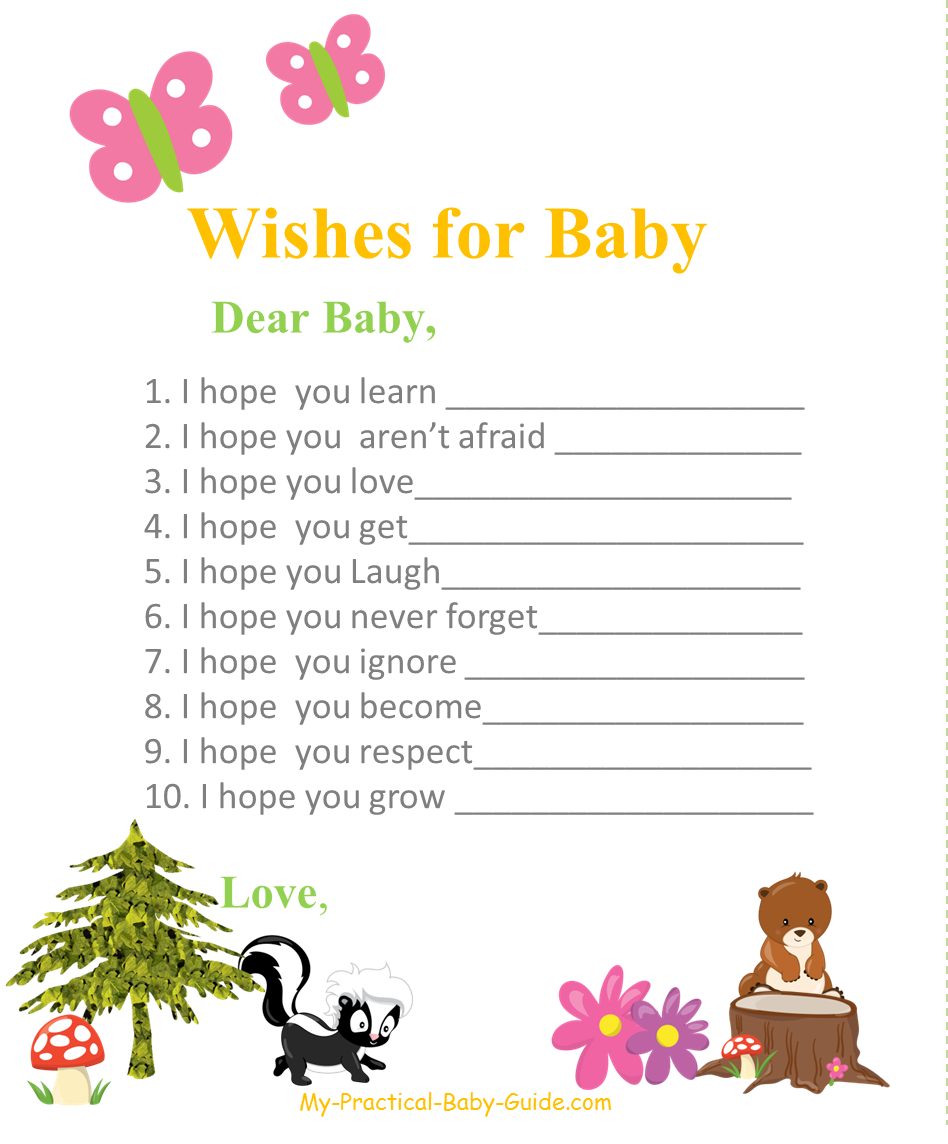 Free Printable #Woodland #Themed #Baby #Shower Wishes for Baby ...