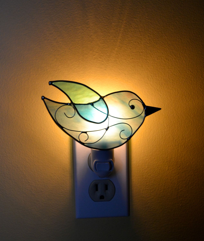 Blue Sky Songbird Stained Glass Nightlight. $16.00, via Etsy.