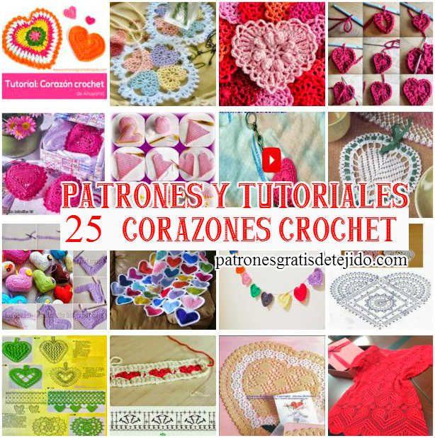 25 Patrones y Tutoriales de Corazones para tejer al Crochet ...