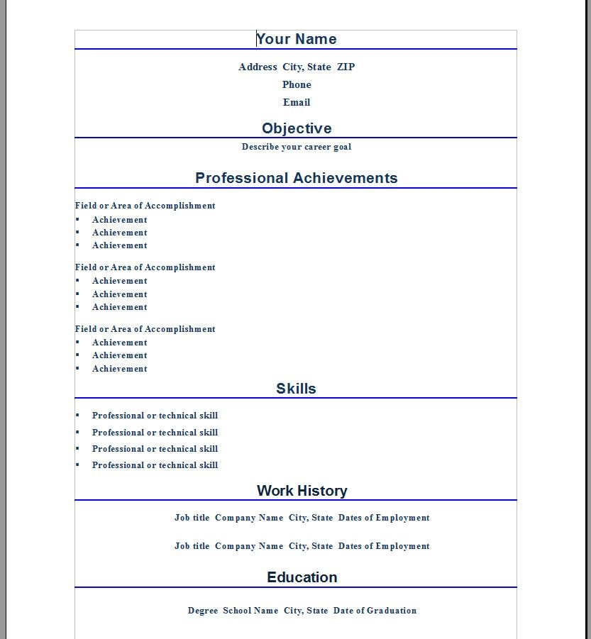 Professional Resume Template For Word - http\/\/wwwresumecareer - how to make a resume on microsoft word 2010