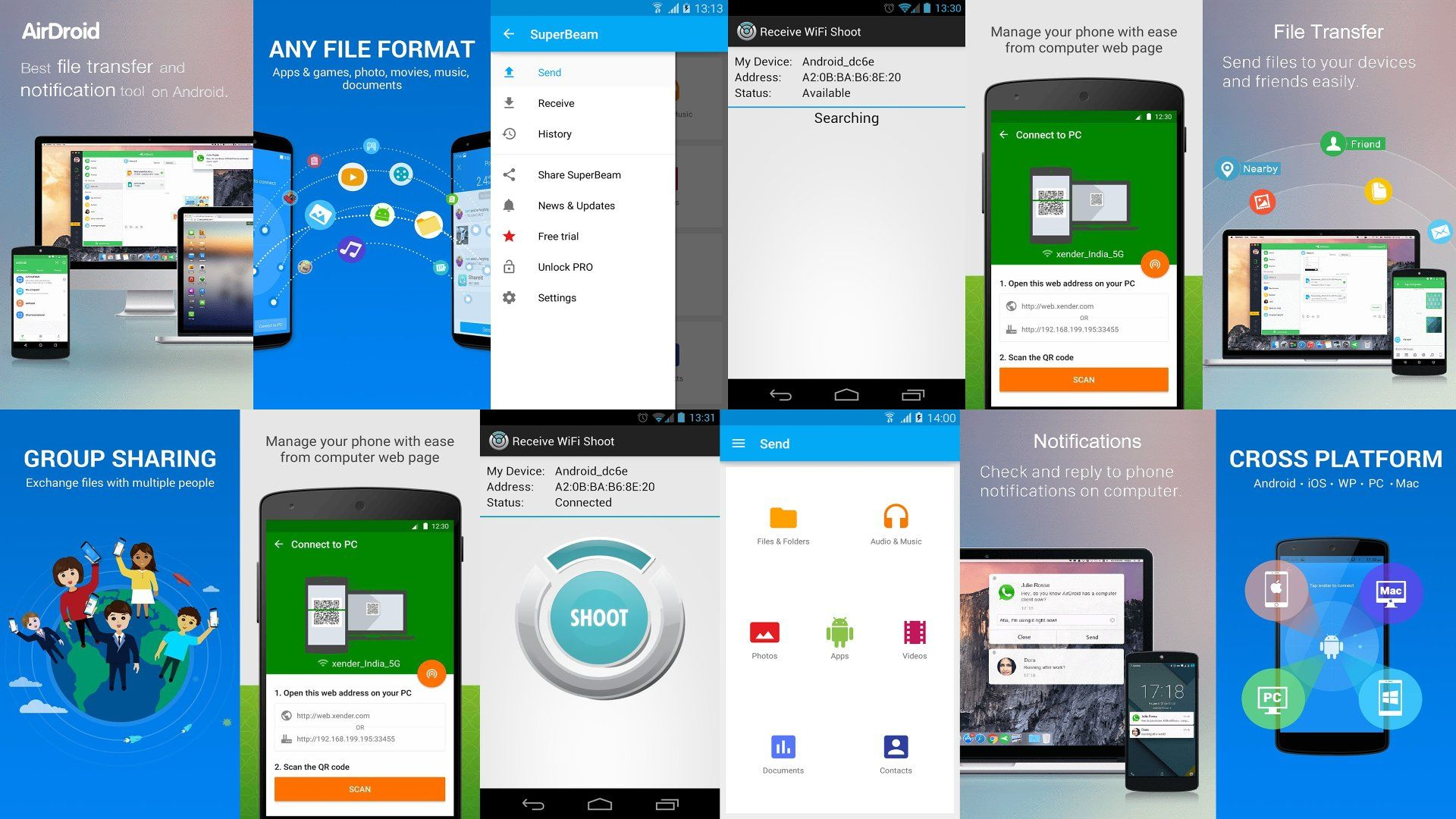 Here Are 6 Best Free Wifi File Transfer Apps That Allows You To Share And Transfer Files Between Android Devices Through Wifi In Just Min Wifi App Android Apps