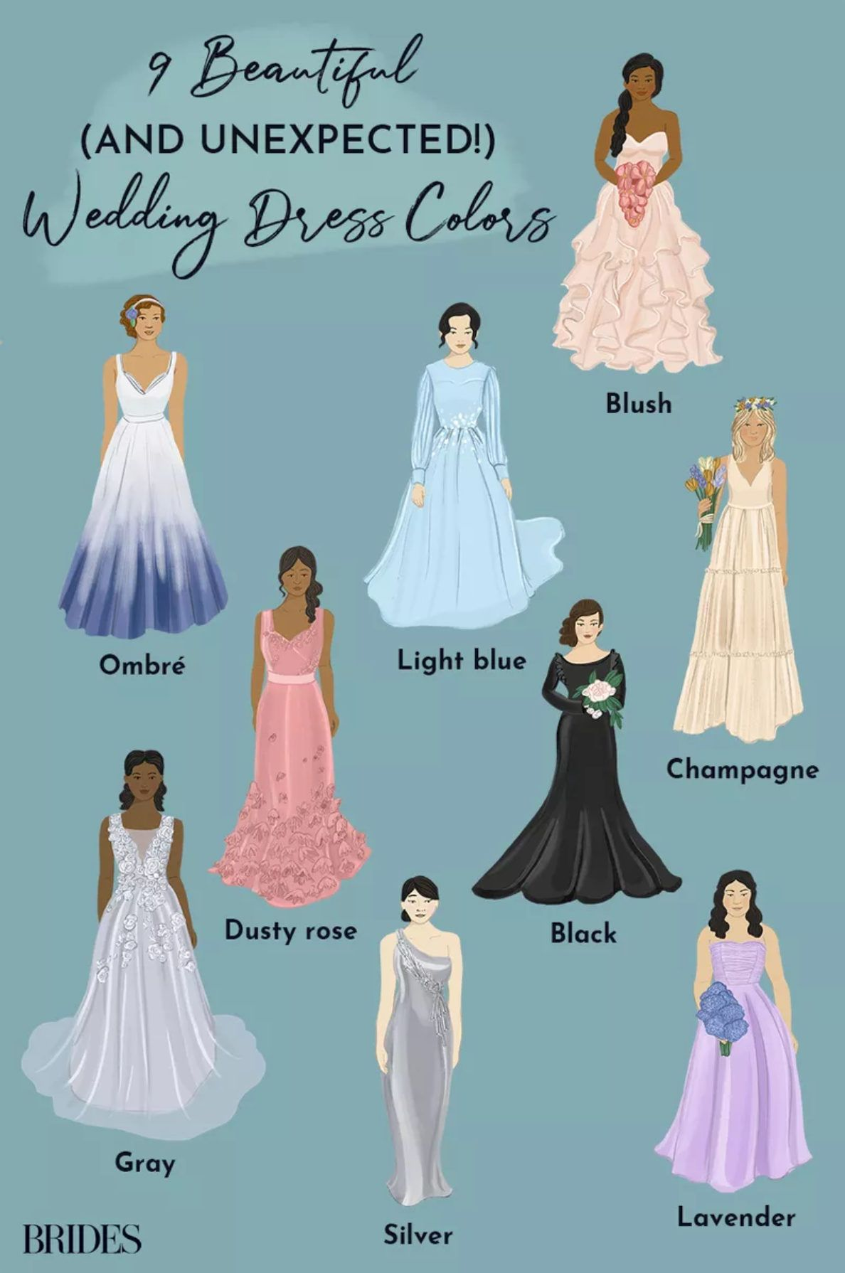 20 Colorful Wedding Dresses You Can Buy Right Now Beautiful Wedding Dresses Most Beautiful Wedding Dresses Colored Wedding Dress