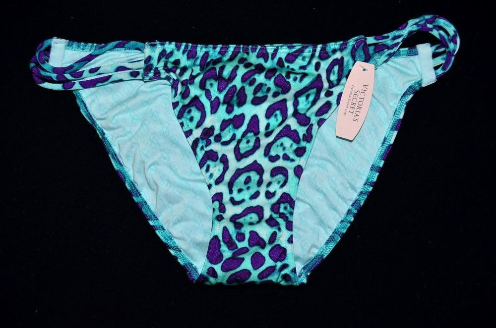 Victoria's Secret Strappy Blue Leopard String Bikini Bottom Small S Swim NEW I #VictoriasSecret #BikiniBottom #bikini #vkmarketplace
