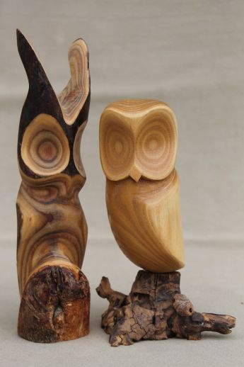 Pair of owls vintage rustic modern abstract wood carvings sculpture Peterson - Canada $34.75 US