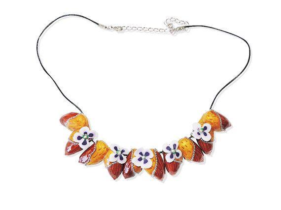 Almond Necklace Natural Jewelry Boho Jewelry Bohemian Jewelry Statement Necklace…