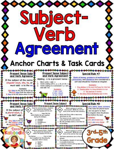 Subject Verb Agreement Task Cards And Anchor Charts  Subject Verb