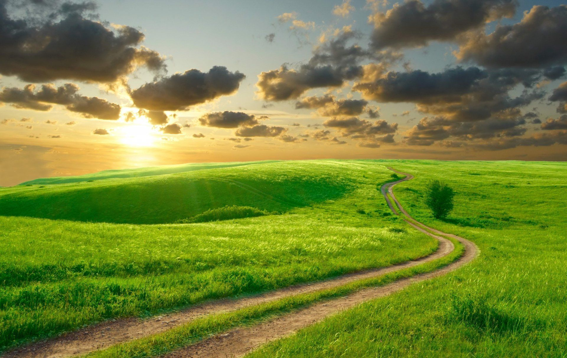 nature road summer sky morning sun clouds beautiful hills landscape