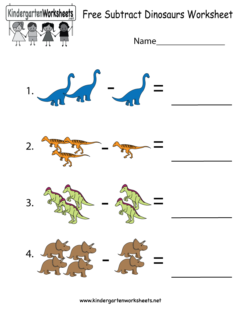 dinosaurs subtraction worksheet for kindergarteners this would be perfect for dinosaur lovers. Black Bedroom Furniture Sets. Home Design Ideas