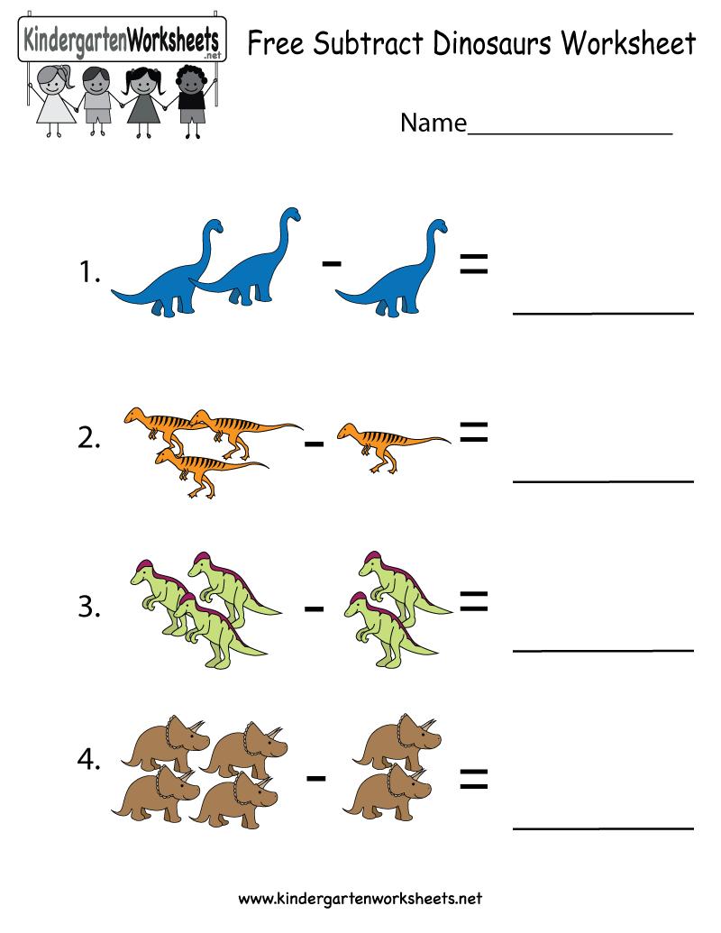 Workbooks prehistory worksheets : Dinosaurs subtraction worksheet for kindergarteners. This would be ...