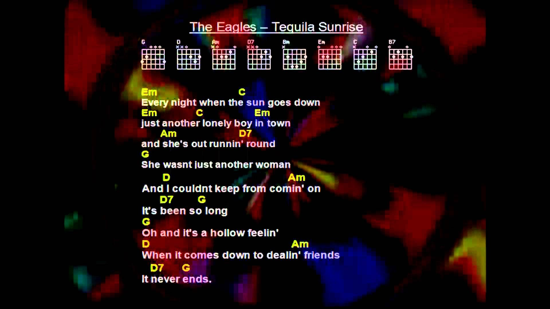 The Eagles Tequila Sunrise Full Backing Track Playlist My