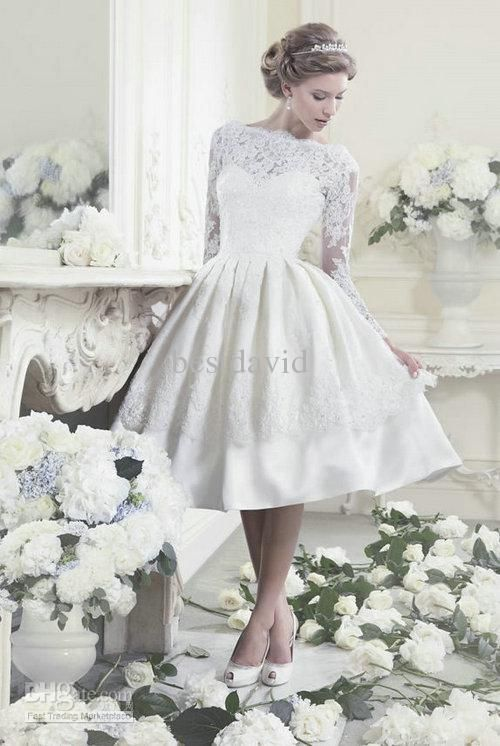 1950s inspired tea length wedding gown | My future home | Pinterest ...