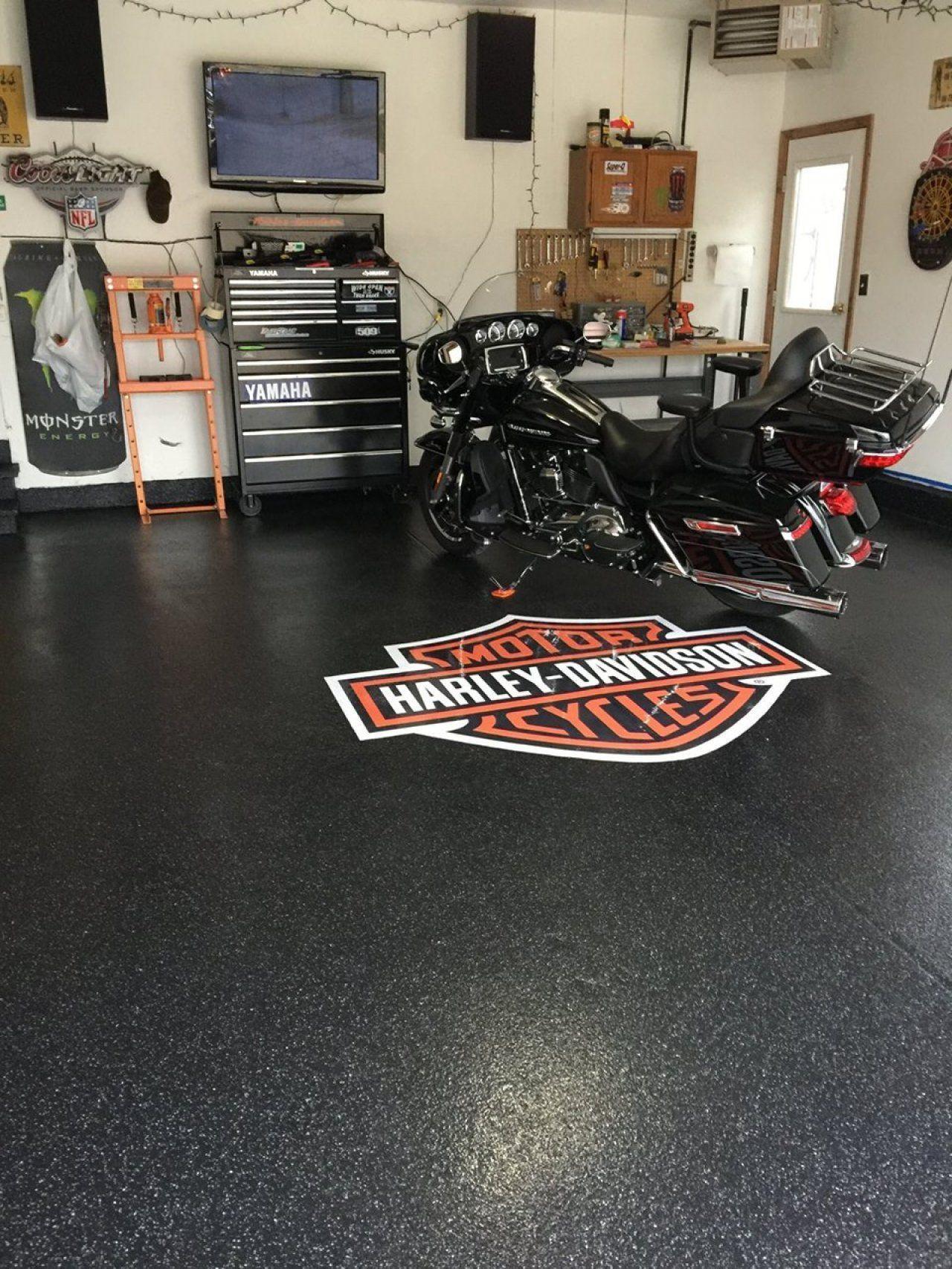 Man Cave Garage Flooring With Harley Davidson Logo Contact Garagemancaves Man Cave Garage Flooring With H Garage Epoxy Garage Floor Epoxy Garage Floor Coating